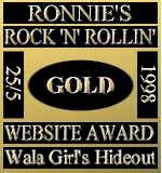 Ronnie's Rock 'N' Rollin' Website Award